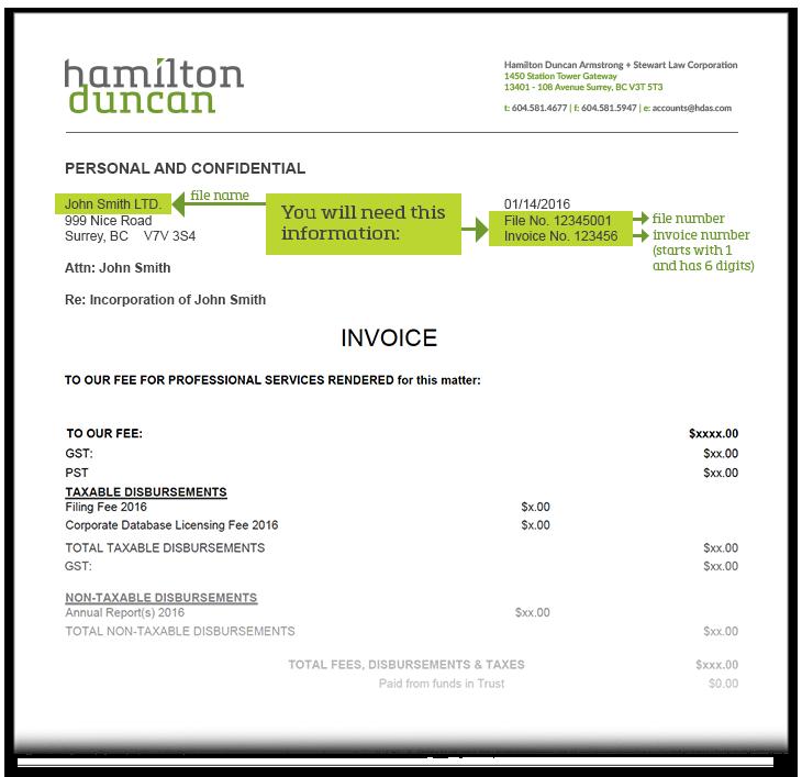 Hamilton Duncan Invoice Example
